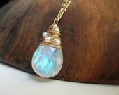 Bridal Wedding Necklace Rainbow Moonstone and Pearls