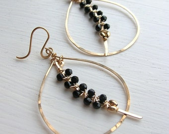 Onyx Woven Tusk Teardrop Hoop Earrings