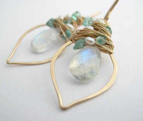 Rainbow Moonstone Earrings with Apatite