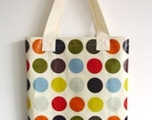 Library Tote / Shopping Bag in red by dotty spots