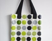 Library Tote / Shopping Bag in kiwi green dots by dotty spotts - ready for shipping