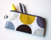 pencil case / zip purse / make up bag in yellow bee with grey spotty oilcloth