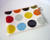 pencil case / zip purse / make up bag 5 x 8 inch in orange spotty oilcloth - READY FOR SHIPPING