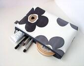 make up bag in black grey flower oilcloth 5 x 8inch
