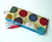 pencil case / zip purse / make up bag in jewel with turquoise zip spotty oilcloth by dotty spots