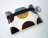 Coin Purse / Business or Credit Card Holder / ID wallet in duck egg blue with brown dotty Oilcloth