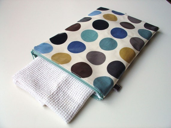 "Wet Bag / wash bag / diaper duty bag 12"" x 8.5"" in duck egg blue"