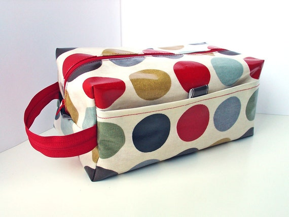 Large MakeUp / Wash Bag in cinnamon brown with red dots Oilcloth