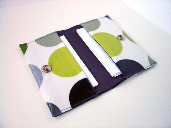 Business Card Holder / double Credit Card Case in green grey dotty Oilcloth by dotty spots design