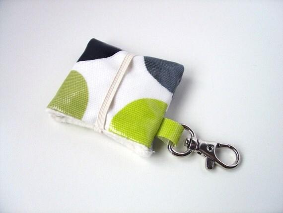ipod Nano 6th generation / ipod shuffle cover case in kiwi green dotty oilcloth