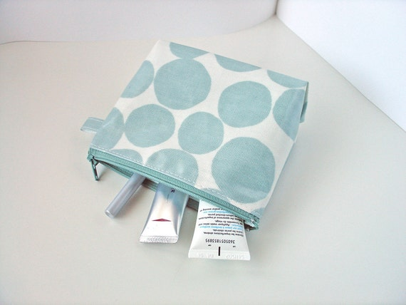 make up bag 4.5 x 6 inch flat bottom powder blue pebble oilcloth - READY FOR SHIPPING