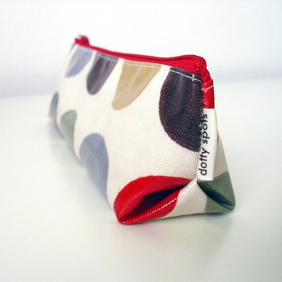 triangle pencil case / zip purse / make up bag in cinnamon red oilcloth by dotty spots