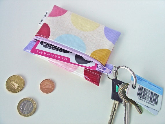 Coin Purse / Business or Credit Card Holder / ID wallet in linen dots Oilcloth  by dotty spots design