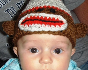 Sock Monkey Hat Crochet Pattern Newborn to 2 year sizes PDF instant digital download