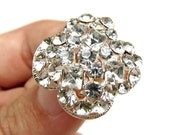 5 Crystal Rhinestone buttons for Wedding Decoration Invitation Card Scrapbooking Jewelry Supply RB-067 (22mm or 0.9inch)