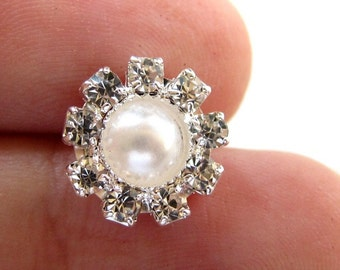 20 Small Pearl Crystal Rhinestone buttons RB-030 (12mm or 0.5 inch)