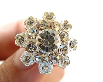 5 Rhinestone buttons for Wedding Decoration Invitation Card Ring Pillow Scrapbooking RB-031 (20mm or 0.8 inch)