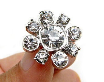 5 Crystal Rhinestone buttons for Wedding Decoration Invitation Card Scrapbooking Jewelry Supply RB-068 (20mm or 0.8inch)