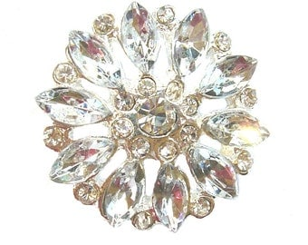 5 Crystal Rhinestone Buttons Vintage Inspired for Wedding Hair Accessories Shoe Clips Ring Pillow Scrapbooking RB-004 (25mm or 1 inch)