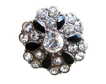 5 Enamel Rhinestone Buttons Wedding Invitation Card Decoration Hair Accessories Jewelry Scrapbooking RB-054 (25mm or 1 inch)