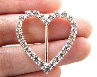 10 Heart Rhinestone Buckles for Wedding Invitation Card Sliders Scrapbooking Ring Pillow Napkin Ring  BUC-003 (30mm/30mm or 1.2inch/1.2inch)