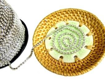 SS12 Rhinestone Chain, Trim, Clear Crystal, Vintage Trim, Wedding Cake Topper, Bouquet Chain, 3.2mm, 3 feet length