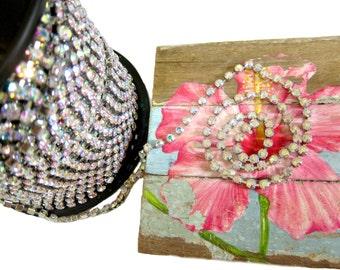 Rhinestone Chain, SS16 AB Crystal, 3 Feet length, size 4mm, Wedding Chain, Vintage Trim, Bridal Cake Topper Chain, Opal Chain, Trim