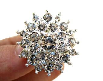 5 Starburst Rhinestone Buttons for Wedding Invitation Card Decoration Scrapbooking Garter RB-025 (26mm or 1 inch)