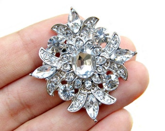5pc Sparkling Rhinestone buttons for Wedding Invitation Card Scrapbooking Jewelry Supply RB-062 (38mm by 35mm or 1.5inch by 1.4inch)