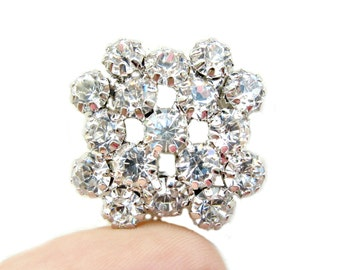 5 Sparkling Crystal Rhinestone buttons for Wedding Decoration Invitation Card Scrapbooking Jewelry Supply RB-072 (22mm or 0.9inch)