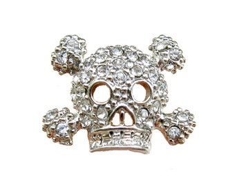 5 Crystal Rhinestone buttons SKULL for hair accessories invitation card wedding scrapbooking RB-036D (19mm/15mm or 0.75 inch / 0.6 inch)