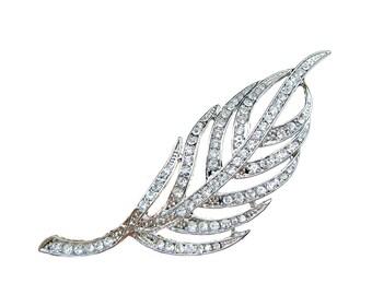 2 Leaf Crystal Rhinestone Brooch - Wedding Hair Accessories Ring Pillow Gift Box Headpiece Haircomb BRO-012 (10 cm or 4.0inch)