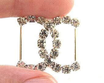 10 Crystal Rhinestone Buckle for Wedding Decoration Invitation Card Ribbon Slider Scrapbooking BUC-004 (22mm/22mm or 0.9inch/0.9inch)