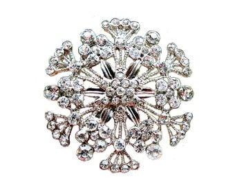 1 piece Rhinestone Brooch Component Vintage Style - Wedding Hair Accessories Shoe Clip Gift Box Ring Pillow BRO-010 (45mm or 1.8inch)