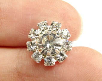 20 Small Crystal Rhinestone buttons, Itty Bitty button, Wedding Invitation Card, Hair Accessories, Garter RB-084 (12mm or 0.5 inch)