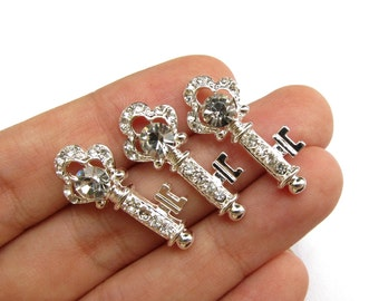 5 Small Skeleton Key Crystal Rhinestone Buttons for Wedding Decoration Invitation Card Scrapbooking RB-088 (27mm or 1 inch)