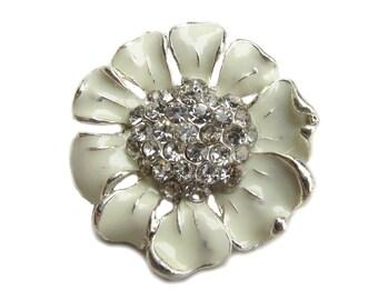 5 Cream Enamel Flower Rhinestone buttons - Wedding Bridemaid Hair Accessories Scrapbooking RB-048C (size 24mm or 0.9 inch)