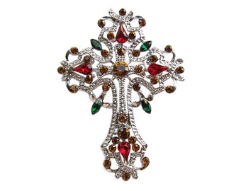 1 Crystal Celtic Cross Rhinestone Brooch for Wedding Cake Decoration Gift Box Candle Ribbon Brooch Bouquet BRO-021 (66mm  or 2.6 inch)