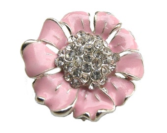 5 Enamel Flower Rhinestone buttons Pastel Pink - Wedding Bridemaid Hair Accessories Scrapbooking RB-048PP (size 24mm or 0.9 inch)