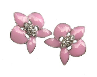 5 Crystal Enamel Rhinestone Buttons Pink Orchid - Wedding Invitation Hair Accessories Scrapbook Jewelry Supplies RB-094 (21mm or 0.8 inch)