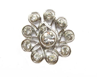 5 Crystal Rhinestone Buttons Flatback - Wedding Invitation Card Hair Accessories Jewelry Supplies RB-101 (24mm or 1 inch)