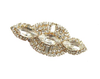 1 Crystal Rhinestone Brooch for Wedding Cake Decoration Bridal Sash Hair Comb Gift Box Ring Pillow BRO-020G (53mm  or 2.1 inch)