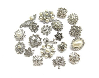 20pc  Mixture of Pearl Crystal Rhinestone Buttons - CS1 - FREE SHIPPING Worldwide