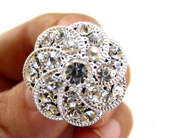 20 Crystal Rhinestone buttons - Wedding Hair Accessories, Invitation Card, Shoe Clips, Bouquet Charm RB-034 (22mm or 0.9 inch)