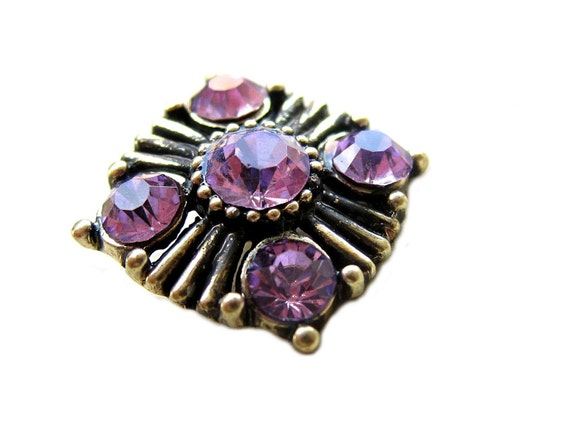 5 Purple Rhinestone Buttons Vintage Inspired - Wedding Garter, Invitation Card, Hair Clip, Hair Pin, Bouquet Charm RB-055 (20mm or 0.8 inch)