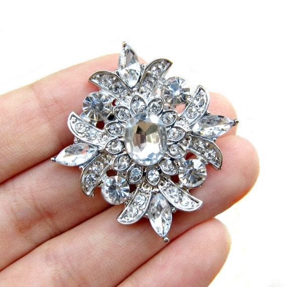 5 Sparkling Rhinestone buttons for Wedding Invitation Card Scrapbooking Jewelry Supply RB-062 (38mm by 35mm or 1.5inch by 1.4inch)