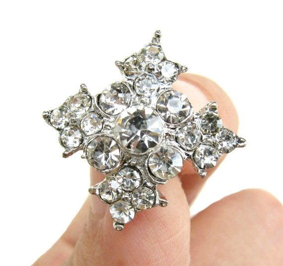 20 Rhinestone buttons for Wedding Decoration Invitation Card Ring Pillow Scrapbooking RB-057 (17mm or 0.7inch)