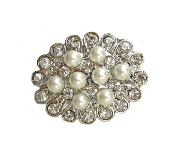 5 Pearl Crystal Rhinestone buttons for Wedding Invitation Card Hair Accessories Scrapbooking  Shoe Clip Garter RB-093 (25mm or 1 inch)