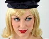 60s vintage blue velvet pillbox hat by Kutz