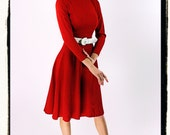 50s vintage ingenue red dress by Minx Modes / xsmall
